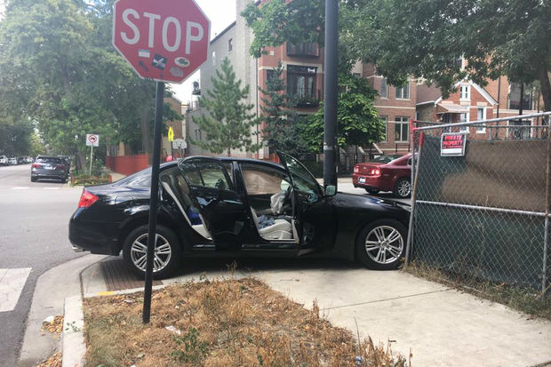 A car crashed in Bucktown Tuesday, but police declined to arrest the alleged driver.