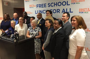 Schools Chancellor Carmen Farina flanked by elected officials and advocates, announcing universal free lunch at P.S. 51 on the Far West Side.