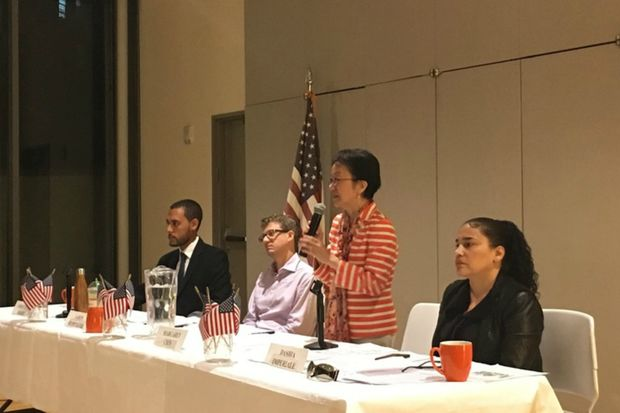 The candidates for City Council District 1 at a recent candidates forum in the Lower East Side.