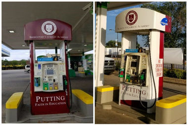 Two specially designed pumps at the BP gas station at 970 W. Pershing Road will have proceeds from sales go to Bridgeport Catholic Academy.