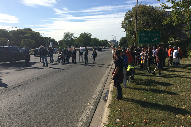 A group of protesters aiming to help Uptown's homeless temporarily blocked traffic on Lake Shore Drive Thursday.