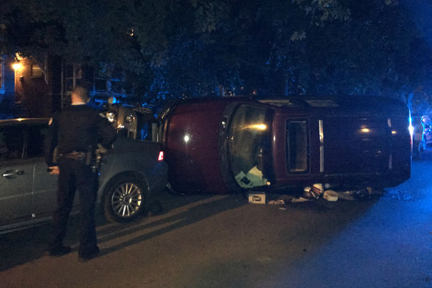 Two men crashed a stolen car in Ravenswood Manor, police said.