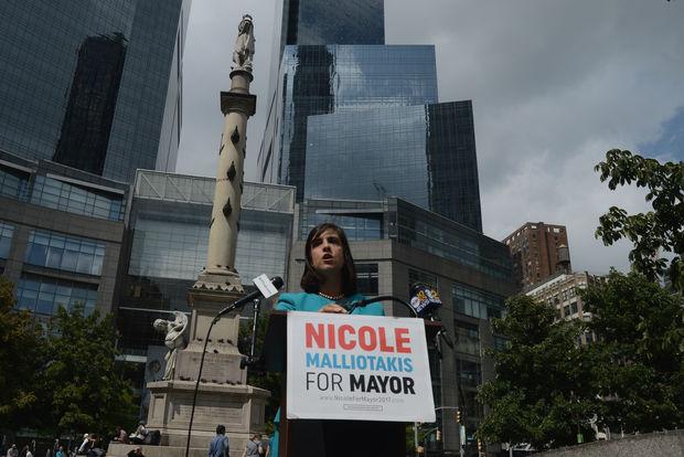 Assemblywoman Nicole Malliotakis speaking about the Columbus Circle statue.