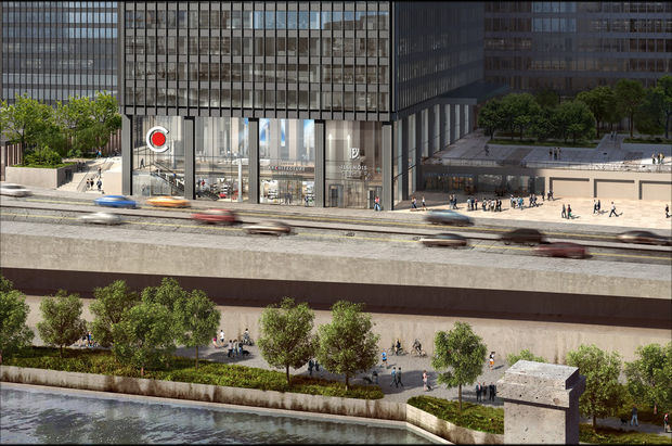 The Chicago Architecture Center will take up three stories of the Illinois Center along the Chicago River.