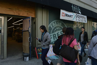 H-Mart's newest location on Broadway is undergoing renovations.
