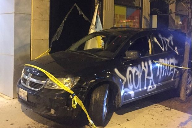 This car was driven into into a glass window at 1647 N. Milwaukee Ave. early Friday.