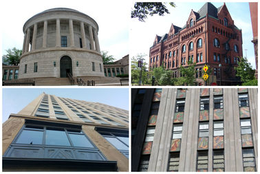 CLOCKWISE FROM TOP LEFT: Some of the buildings featured in Open House Chicago 2017: Elks National Memorial, Armour Institute, Powhatan apartments, the Robey hotel.