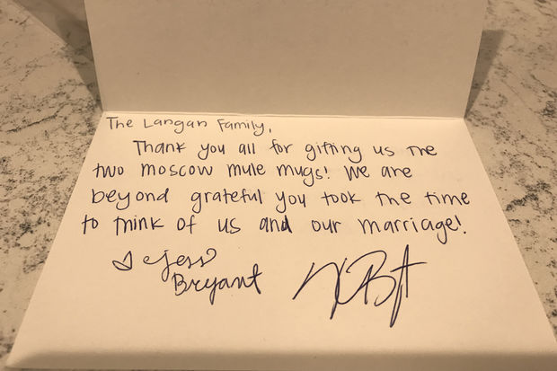Kris bryant is sending thank you notes to fans who sent for When do you register for wedding gifts