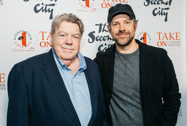George Wendt and Jason Sudeikis as Saturday's Second City fundraiser, which brought in more than $200,000 for the troupe's alumni fund and Gilda's Club Chicago.