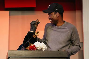Triumph the Insult Comic Dog and Chris Rock brought the evening to a climax, with Rock pitching in a final donation of $10,000.