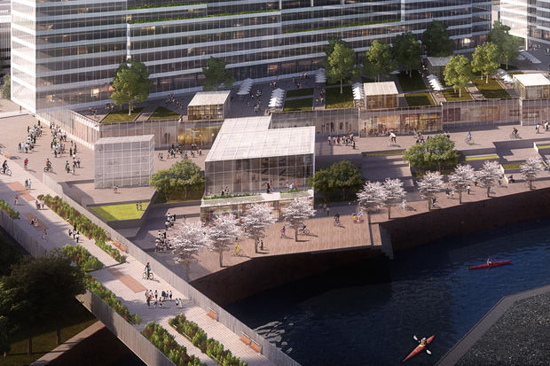Sterling Bay hopes Amazon can picture its new headquarters on the north branch of the Chicago River.
