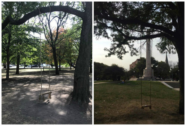 Several makeshift swings, made with wood and rope, have popped up throughout the neighborhood as of late.