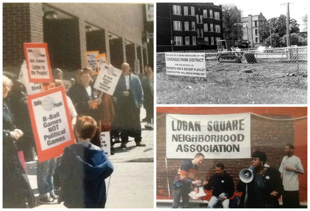 In the 1990s, a battle broke out between then-Ald. Vilma Colom (35th) and determined residents over basketball courts (pictures left and bottom right). The park saw some renovations (top right) is 1986.