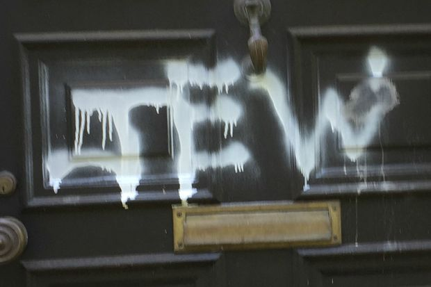 Anti-Semitic graffiti scrawled on a door in Riverdale.