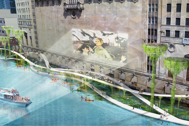 The city has asked architects to conceive of projects for a River Walk extension. A display of the plans is open to the public at 78 E. Randolph St. beginning Saturday.