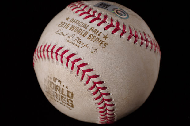 The Cubs' Kris Bryant fouled this baseball off on a pitch from the Cleveland Indians' Corey Kluber in the first game of last year's World Series, and it goes on display at the Chicago History Museum starting Sunday.