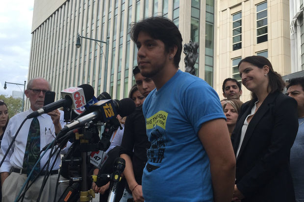 Martin Batalla Vidal speaks outside Brooklyn federal court, where a judge encouraged the Justice Department and Department of Homeland Security to extend a deadline for DACA recipients.