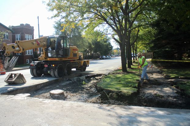 Crews broke ground this week on three new sidewalk bump-outs on Central Avenue, which will shorten the crossing distance for pedestrians on the busy street.