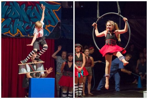 Max (left), 12, and Samantha Rae Jenkins, 10,  perform at the Midnight Circus across the city.