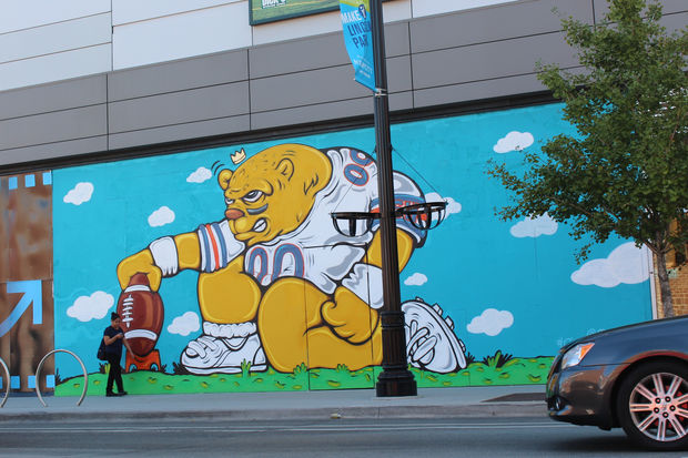 Jc rivera 39 s bear mural completed at newcity old town for Chicago mural project