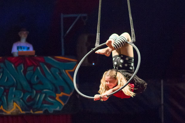 Samantha Rae Jenkins, 10, is an aerialist artist with the Midnight Circus. The circus travels across the city to raise money for the Chicago Park District.