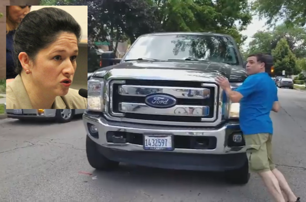 Illinois Comptroller Susana Mendoza filmed a hit-and-run that left a woman hurt and three cars damaged on July 30, she said.