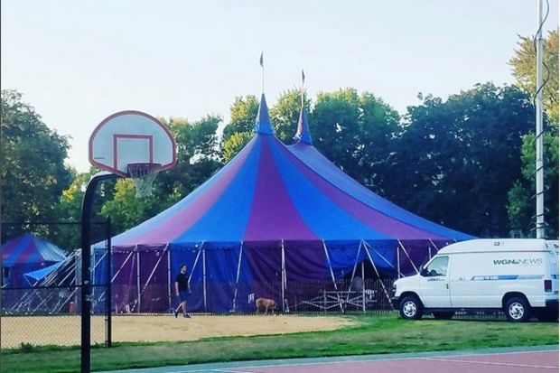 The circus tent for Midnight Circus.