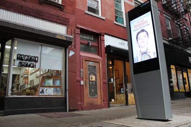 The kiosks went up along Manhattan Avenue the end of July.