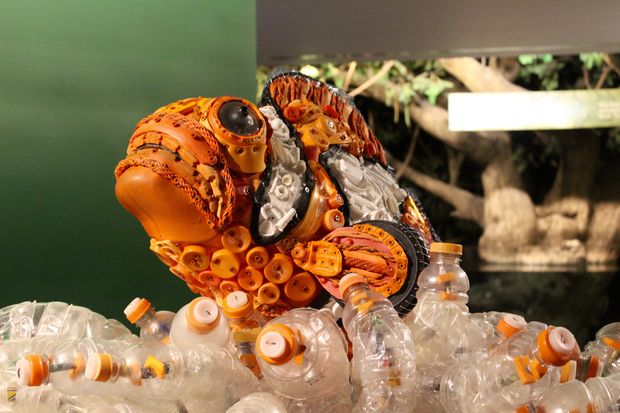 Shedd Aquarium's latest exhibit shows sculptures made of plastic garbage to show how bad marine pollution has become.