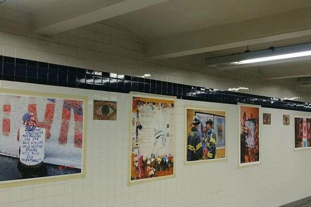 ArtAID's 16th Anniversary Ground Zero Memorial photo display was installed in a passageway in the World Trade Center subway station on Sept. 11.