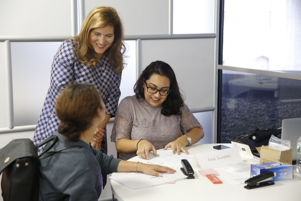 From left to right: Krissia Bonilla, 19, a Hunter College sophmore; Hunter College president Jennifer J. Raab; and Jennifer Pineros, 23, a paralegal and Hunter College alumna.