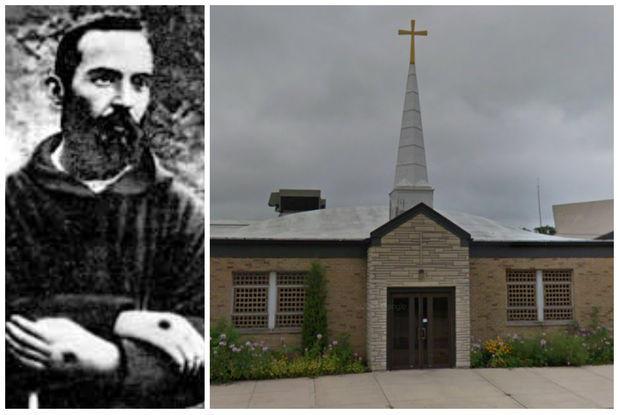 Relics from St. Pio of Pietrelcina, known as Padre Pio (left), will be on display at St. Francis Borgia Church (right) on Monday and at St. Ita Church on Tuesday.