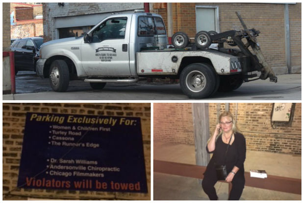 Bottom left, a sign gives customers of Women and Children's First bookstore permission to park in its Clark Street lot. Bottom right, Cheryl Reed calls Lincoln Towing to find her car after the author said it was illegally towed.