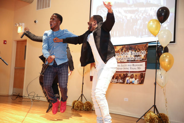 Jayson Roberts and Darius Washington perform at the Better Man Than Me's scholarship fundraiser.