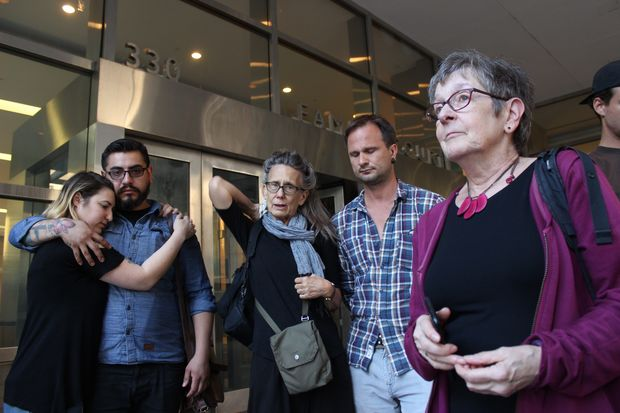 Joan von Ohlen, Matthew's mother on the right, stood out side Brooklyn Supreme Court following the Monday guilty verdict of Juan Maldonado, the man who ran over her son cyclist Matthew von Ohlen.