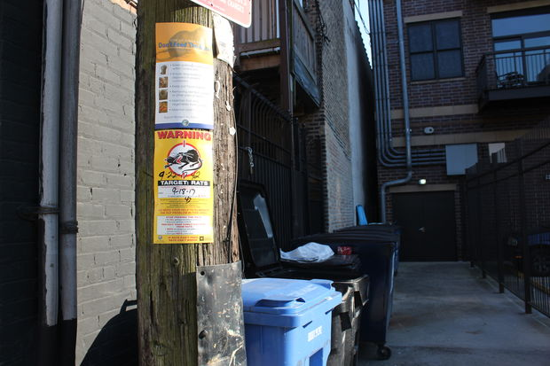 A notice posted in the alley on the east side of North Wilton Avenue says the block was last surveyed and baited on Friday. Wilton residents said the rat problem has gotten out of control amid multiple construction projects and irresponsible handling of trash.