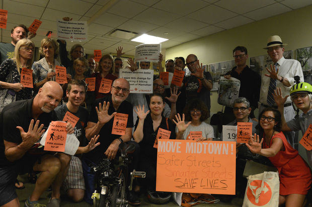 TransAlt members urged CB5 and DOT to add a protected bike lane to Fifth Avenue.