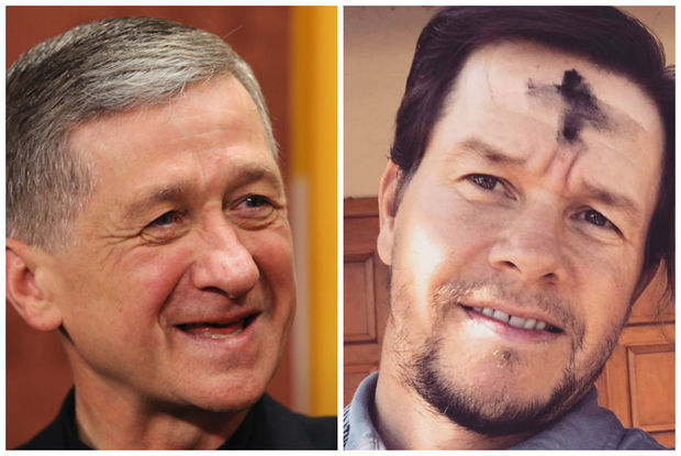 Oscar-nominated actor Mark Wahlberg (right, with an Ash Wednesday cross on his forehead) will join Cardinal Blase Cupich Oct. 20 at UIC Pavillion. Wahlberg often posts about his faith on social media, as he did on Ash Wednesday this year.