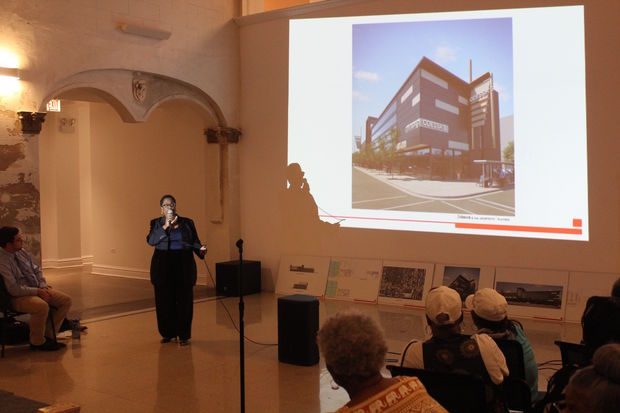 Alisa Starks said she plans to demolish the former bank at 7054 S. Jeffery Blvd. to build a 10-screen theater, restaurant and event venue.