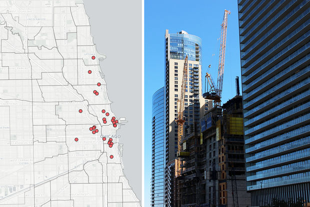 Vista Tower — poised to be the third-tallest tower in Chicago — has two cranes on site. The two cranes are among 54 cranes that have worked across Chicago in 2017.