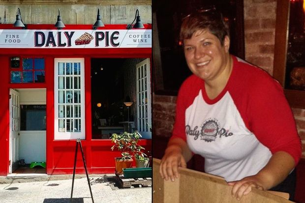 Meghan Daly (right), the owner of Daly Pie in Prospect Heights (left), has been diagnosed with breast cancer. Friends of her shop are raising money to keep the cafe afloat while she completes a six-month chemotherapy treatment.