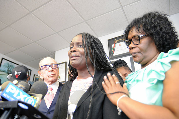 Louna Dennis speaks at Sanford Rubenstein's Downtown Brooklyn law office about her son, Matthew McCree, who was fatally stabbed by a classmate at their Bronx high school on Sept. 29, 2017.